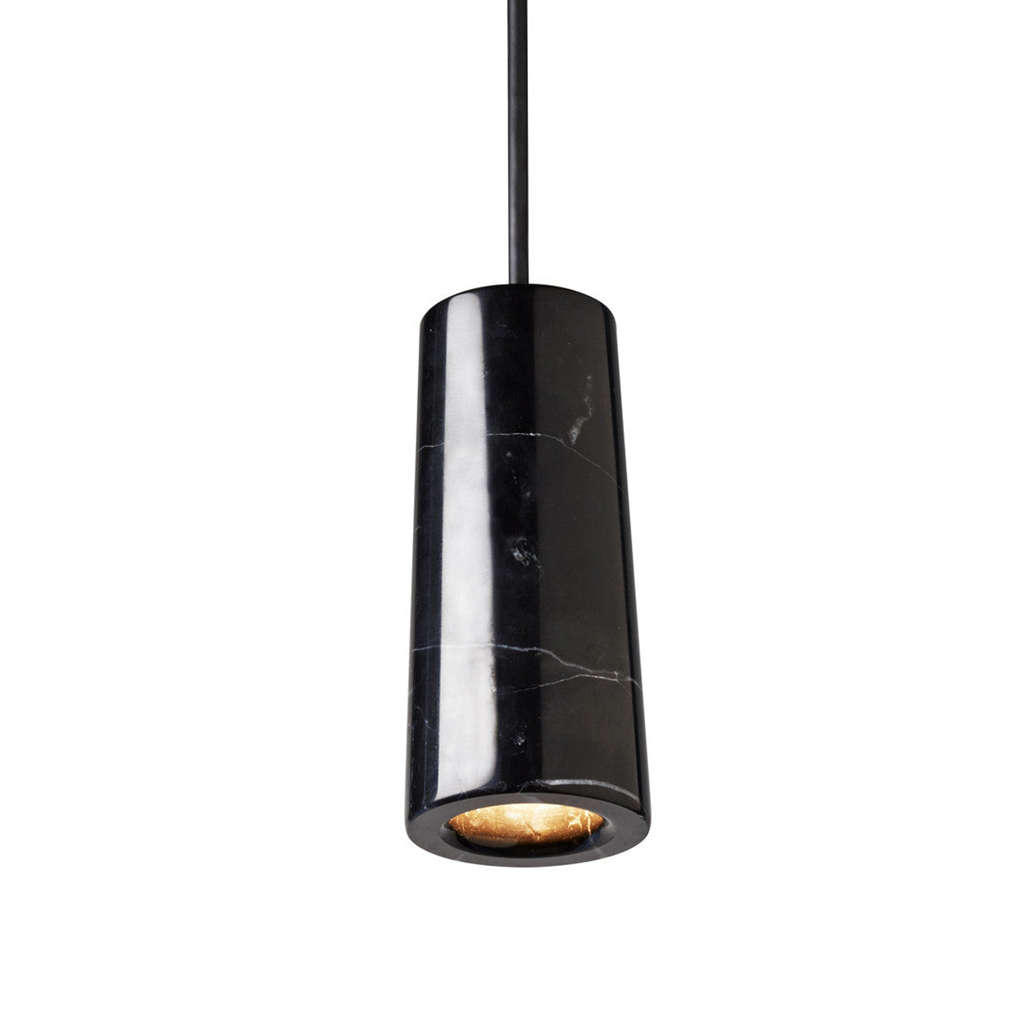 Core Single Pendant Nero Marquina Marble by Terence Woodgate
