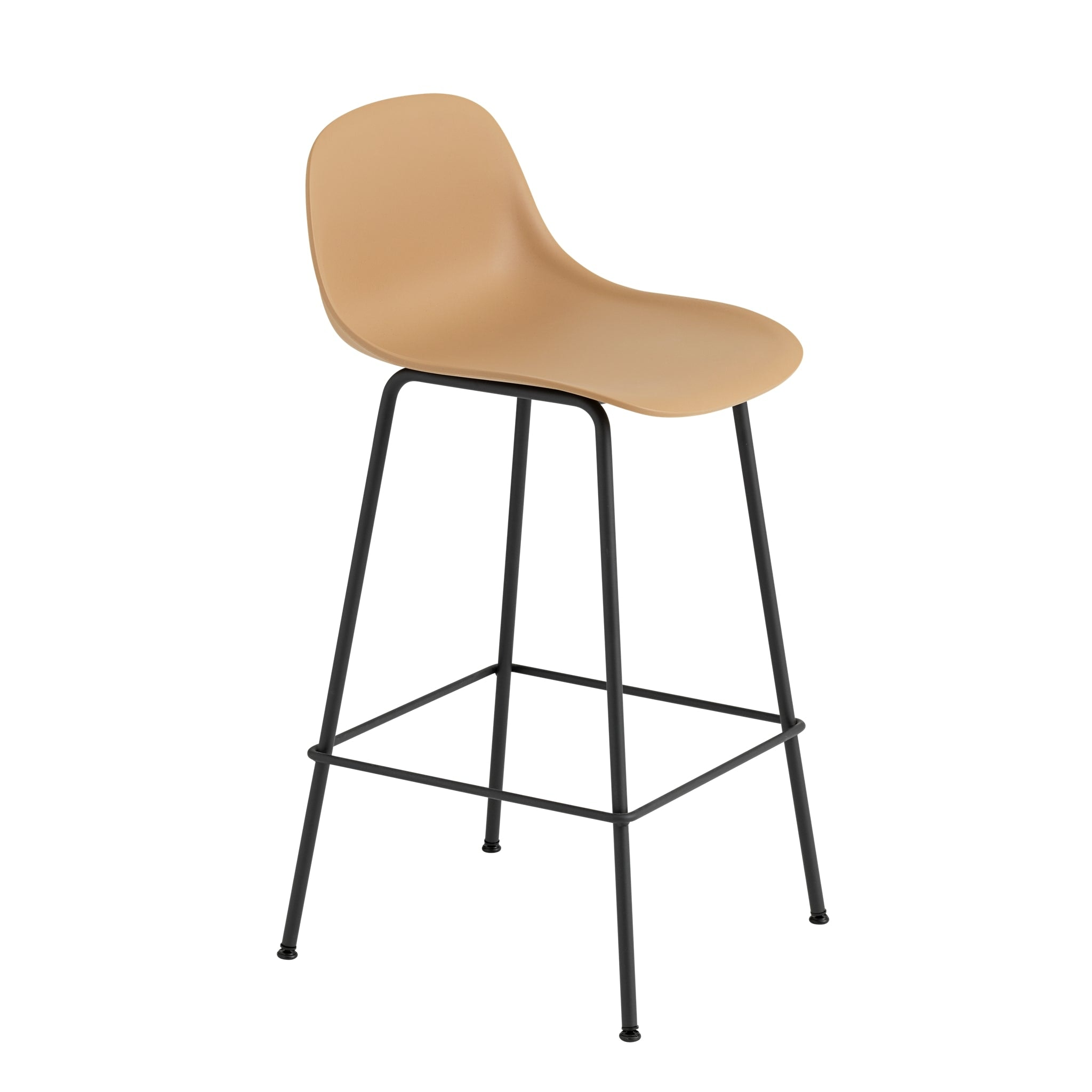 Fiber Bar Stool with Backrest and Tube Base by Muuto