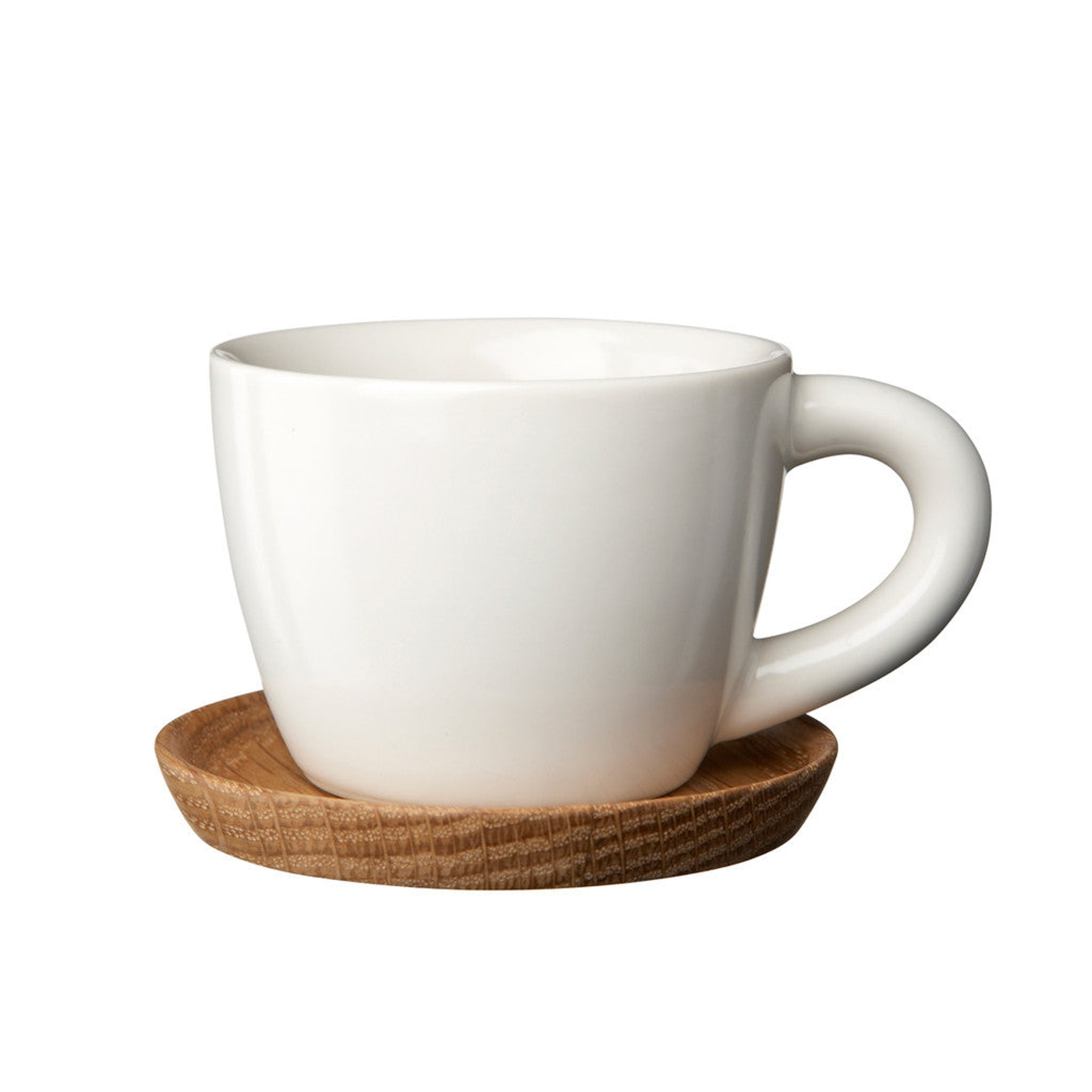 Hoganas Expresso cup with wooden saucer by Front Design