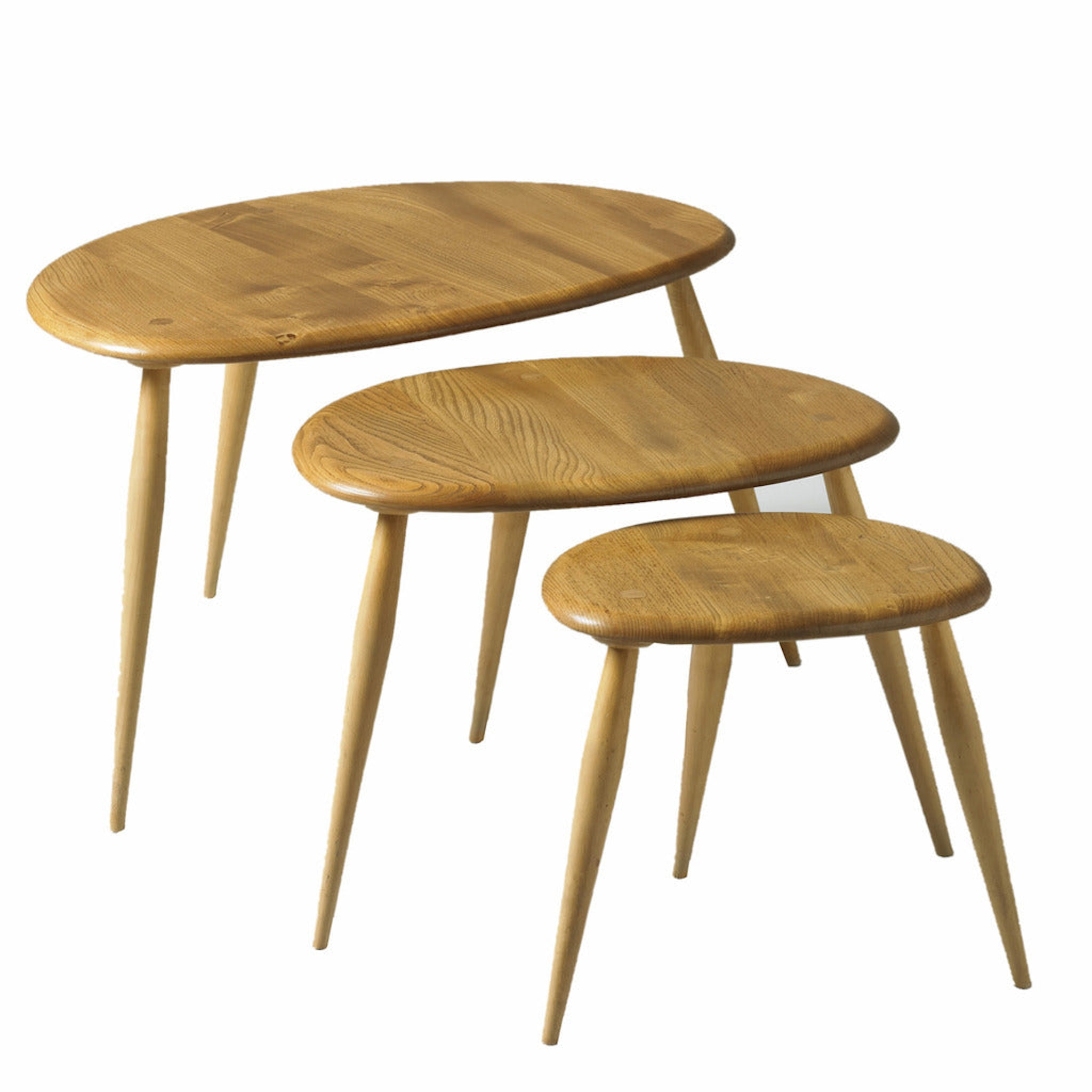 Nest of three Pebble Tables by Ercol